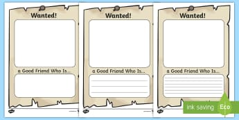 Wanted Friend Poster Activity Sheet - Transition, New Class, PSHE, Friendships, KS1, Worksheet