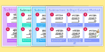 Subtracting 3, 4, 5 and 6 Digit Numbers Using Column Method Display Poster Pack - Key Stage 2, Maths, subtraction, formal, column, poster, display