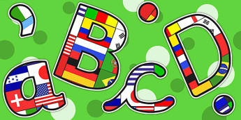 Football World Cup Flag Themed A4 Display Lettering - sports, pe