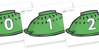 Numbers 0-31 on Colanders, whatever next, whatever next!, foundation stage numeracy, Number recognition, Number flashcards, counting, number frieze, Display numbers, number posters