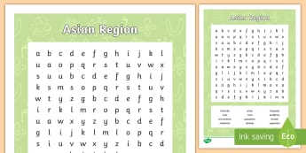Asian Region Word Search - geography, vocabulary, population, asia, settlement, australia, urban, areas