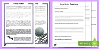 Bram Stoker Differentiated Reading Comprehension Activity Sheet-Irish, worksheet