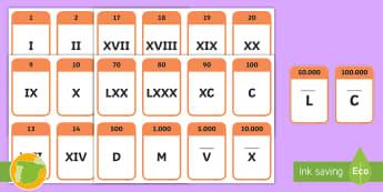 Tarjetas de vocabulario: Los números romanos  - numeración romana, cifras, ayuda visual, mates, matemáticas, historia,Spanish