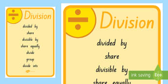 Division Vocabulary Poster - New Zealand, maths, division, vocabulary, poster, Year 3, maths, maths poster, maths vocabulary, div