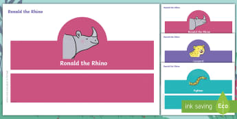Ronald the Rhino Role-Play Headbands - twinkl originals, fiction, KS1, EYFS, story retelling, drama, speaking and listening, acting, javan