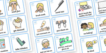 SEN Communication Cards Daily Routine (Girl) -  daily routine, education, home school, child development, children activities, free, kids