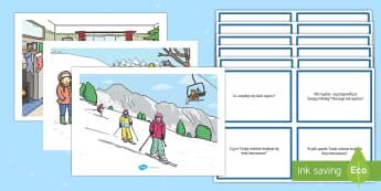 Karty z pytaniami Zimowe scenki  - zima, zimowe, scenki, obrazki, plansze, plansza, pytania, z pytaniami, koncentracja, skupienie, deta