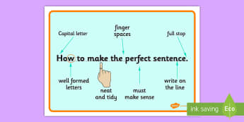 The Perfect Sentence Display Posters / Work Mats - Sentence structure, sentence rules, sentence, full stop, capital letter, finger spaces, writing prompt, writing aid