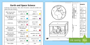 Year 1 Earth and Space Questions and Colouring Activity Sheets-Australia - Worksheets, landscapes, ACSSU019, in the sky, weathering, grade 1,Australia
