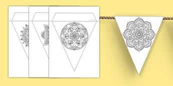 Rangoli Pattern Display Bunting - rangoli, pattern, display bunting, display, bunting