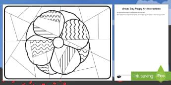 Anzac Day Large Poppy Art Activity Sheet - ANZAC Day - 25 April, worksheet, poppy day, poppies, art, whole class, Australia