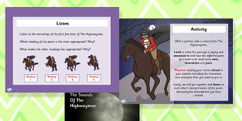 The Sounds of the Highwayman Task Setter Activity Powerpoint