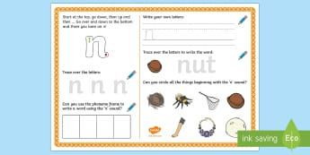 UAE EY 'n' Sound Activity Mat - Letters and Sounds, grapheme, phoneme, satpin, letter formation, handwriting, EYFS, Development matt