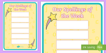 Our Spellings of the week Display Poster - Our Spellings of the week Display Poster - This week, spelling, spellings, words, display, poster, d