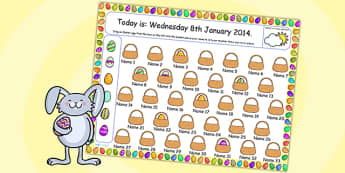 Easter Themed Self Registration Flipchart - easter, self reg