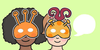 KS2 Literacy Speaking and Listening Alien Masks - masks, alien