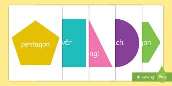 2D Shapes Display Cut-Outs - 2D Shapes Display Cut-Outs Welsh, 2 d shapes, geometry,Welsh, shape, maths, matsh, shaps, shapees, s