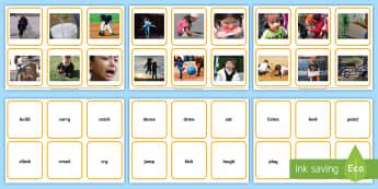 Verbs Photos Matching Cards  - Verbs Photo Display Poster A4 - verbs, grammar, literacy, display, grammer, verbsw, Gramar, verbss,