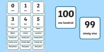 Printable Numbers 1-100 - flash cards, visual, aid, numbers, flash
