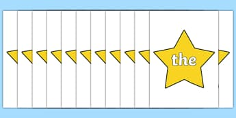 Year 1 Common Exception Words on Stars - year 1, common exception words, stars