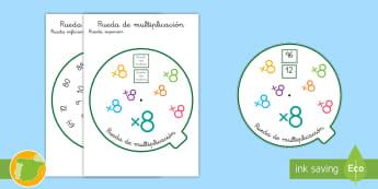 Rueda de multiplicación: x8 - tabla de multiplicar, múltiplos, ficha, mates, matemáticas, x8, por ocho, multiplicar, multiplicac