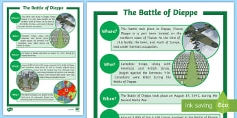The Battle of Dieppe Fast Facts Fact File - Remembrance Day, Canada, History, Junior, Grade 4, Grade 5, Grade 6, Social Studies.