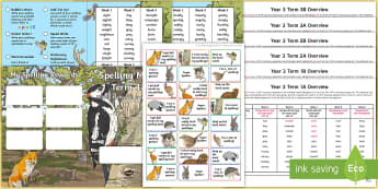 Year 3 Wildlife Themed Spelling Menu Pack - spag, gps, home learning, weekly, lists, test,