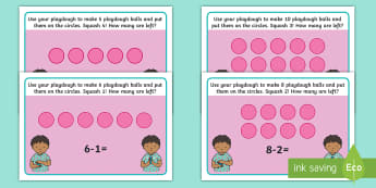 Subtraction Squash Playdough Mats - playdough, malleable, EYFS, maths, early maths, take away, continuous provision, practical maths