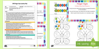 EYFS Cotton Bud Dab Patterns Finger Gym Plan and Resource Pack - EYFS Patterns, shape space measure, caterpillar, butterfly, repeating, pattern, symmetry, symmetrica