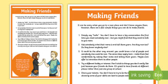 Making Friends A4 Display Poster - young people, PSHCE, friendships, confidence, transition