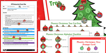 Phonic Christmas Tree EYFS Interactive Poster Plan and Resource Pack - phonic, christmas tree, poster, display