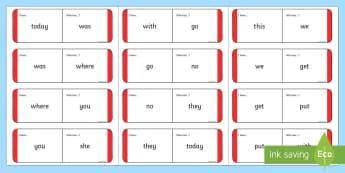 Sight Words Loop Cards - Red Loop Cards