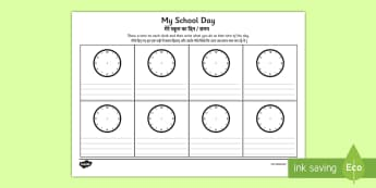 My School Day Activity Sheet Hindi/English - My School Day Worksheet - timetable, daily routine, transition, rountines, Timw, trasition, bump up