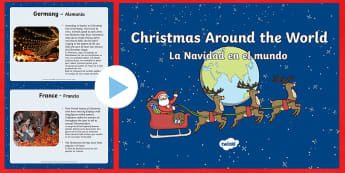 Christmas Around The World PowerPoint English/Spanish - christmas, around the world, powerpoint, information, class discussion, EAL