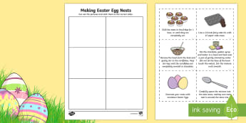 Making Easter Egg Nests Sequencing Activity Sheet - KS1 Easter, baking, easter, nests. eggs, sequence, instructions, recipe