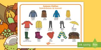 Autumn Clothes Word Mat English/Romanian - Autumn, seasons, september, october, november, topics, ks1, harvest, clothes, clothing, wear, EAL