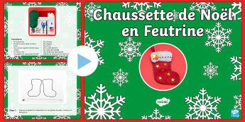 Chaussette de Noël Travaux manuels de Noël PowerPoint - Noël, Christmas, travaux manuels, arts plastiques, art, craft, stocking, chaussette, bas,French