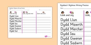 Dyddiau'r Wythnos Writing Practice Worksheet Cymraeg - cymraeg, days, week, writing, practice, worksheet
