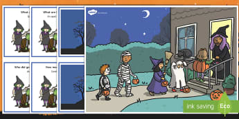 Halloween Scene Question Cards English/French  - scene, question, cards,halloween