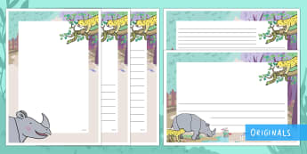 Ronald the Rhino Page Border Pack - Ronald the Rhino, rhyming, pattern, story, jungle, Africa, rhino,