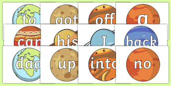 100 High Frequency Words on Planets - 100, high frequency words, planets, display