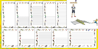 The Olympics Sports Events Page Borders (A4) - Olympics, Olympic Games, sports, Olympic, London, 2012, page border, border, writing aid, writing, A4, activity, Olympic torch, flag, countries, medal, Olympic Rings, mascots, flame, compete, events, ten