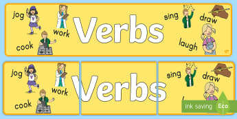 Verbs Display Banner - display banner, banner, English, verbs, words, decor