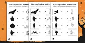 Halloween Shadow Matching Worksheet - Halloween, Shadow, Match