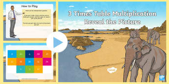 3 Times Table Multiplication Reveal the Picture Plenary  PowerPoint - CfE Numeracy and Mathematics, number, number process, times tables, multiply, multiplication, plenar