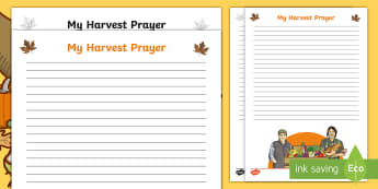 Harvest Prayer Writing Template - Blank, Autumn, Assembly, Display KS2, Key Stage Two