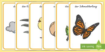 Frühlingsbilder Poster DIN A4 - Frühling, spring, Jahreszeiten, seasons, lamb, Lamm, Schmetterling, butterfly, Knospe, bud, hatch,