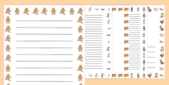 The Gingerbread Man Story - Gingerbread man, traditional tales, page border, a4 border, template, writing aid, writing border, page template, tale, fairy tale, gingerbread, little old man, little old woman, fox, run run