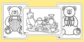 Teddy Bears Picnic Colouring Pages - teddy bear, colouring, bear