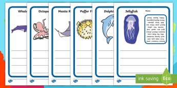 Under the Sea Description Writing Template - under the sea, under the sea descriptive writing, sea creature descriptive writing template